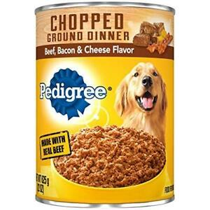 PEDIGREE Chopped Ground Dinner Adult Canned Soft Wet Meaty Dog Food Beef, Bacon