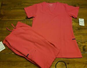 NEW w/Tags Womens Sz Small Pink Flash Jockey Scrub Set Shirt and Pants Pockets