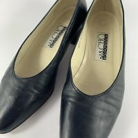 Nacho Rivera Vintage Size 38 (7.5) Black Leather Low Block Heel Made in Europe
