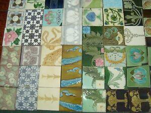 79 Art Nouveau Majolica original antique tiles with defect balance lot clearance