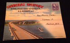 Vintage 1953 Overseas Highway Homestead to Key West FL Postcard Booklet