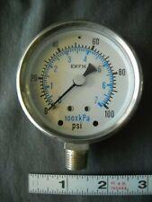 New In Box Enfm 7021 Pressure Gauge 2 12 Face 14 Npt 0 100 Psi Steampunk
