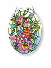 "AMIA STAINED GLASS SUNCATCHER 6.5"" X 9"" OVAL HUMMINGBIRD DAY LILLY #42121"