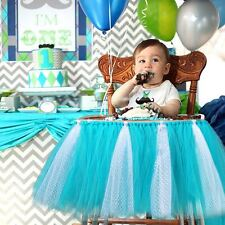 Blue Baby Kids Tutu Tulle High Chair Skirt Baby Shower Birthday Party Home Decor