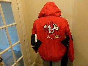Vtg 90's Red Sewn Louisville Cardinals NCAA College Football Parka Jacket Men L