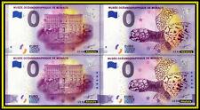 LOT de 4 Billets Touristiques Souvenir 0 euro Musée Océanographique Monaco 2020