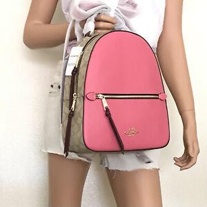 NWT Coach Signature Jordyn Backpack F4082 Khaki Pink Multi