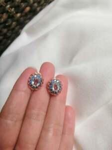 Natural Aquamarine - London Blue Topaz Gemstone Earing Stud Silver 925