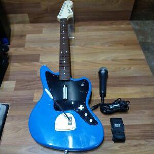 Rock Band Sony PS4 Fender Jaguar Guitar Controller Blue & Rock Band Microphone