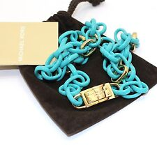 Michael Kors Gold Tone Turquoise Modern Mix Link Necklace NWT MKJ3417710