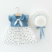 Toddler Baby Kids Girls Dot Patchwork Tulle Dress Princess Dresses Clothes Hat