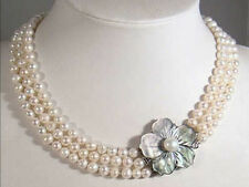 Pearl Necklace 17-19'' Shell Clasp Aaa 3 Rows Natural 7-8mm White Akoya Cultured