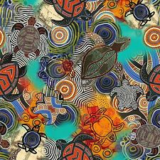 Fabric Sea Turtles Beach Art Tribal Design on Multi Cotton by the 1/4 yard