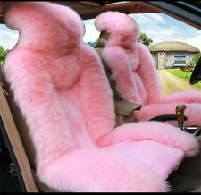 2pc Car Front Seat Cover Winter Warm Australian Sheepskin Fur Seat Cover Cushion