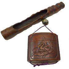 Original japanische antike handgemachte Inrô und Kiseru Etui aus Holz YOSHIYAMA