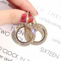 Hot Silver Luxury Round Earrings Women Crystal Geometric Hoop Earrings Jewelry