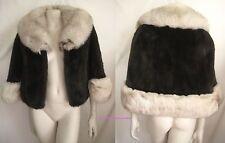 Mahogany Ranch Brown MINK Norwegian FOX Fur Cape Capelet Wrap Stole Coat Jacket