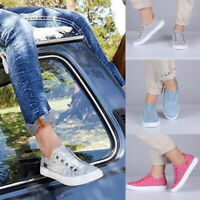 Womens Denim Canvas Loafers Pumps Casual Slip On Flat Trainers Sneakers Shoes M