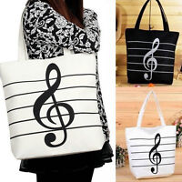 New Women Casual Canvas Musical Note Tote Shopping Shoulder Bags Girls-Handba GT