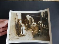 WW1 PHOTOGRAPH BRITISH GAS MASK FUN WITH KIDS ?! EARLY VARIANT