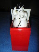 Vintage Hard Plastic Jack in the Box Christmas Snowman Present Decoration VHTF