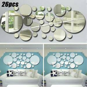 26pcs 3D Mirror Tiles Mosaic Wall Stickers Self Adhesive Bedroom Art Decal Home