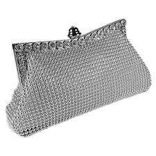 Silver Beaded Crystal Clutch Bag Wedding Prom Party Evening Ladies Handbag New