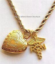 "Gold Plated RN Caduceus Nurse Necklace Heart Locket Nursing Graduation 30"" Long"