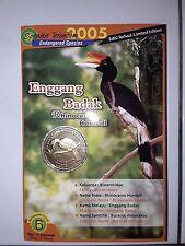 Malaysia Bird Series No,6 Rhinoceros Hornbill Coin Card  (BU) 2005