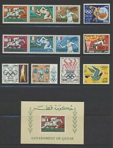 Qatar 103-3B, 140-5 1966 1968 Olympics 2 sets + souvenir sheet NH