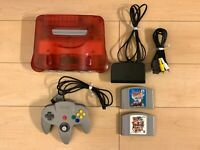 Nintendo 64 Console games set Clear Red, w/ Mario Party, Top Gear Rally