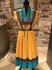 New listing Incredible 1950s Yellow/Turquoise/Copper Fiesta Patio Dress Size S/M