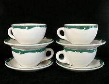 """4 Sets Syracuse China Restaurant Ware """"Wintergreen"""" Pattern 4 Cups & 4 Saucers"""
