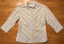 Banana Republic Women's Green, Brown & White Striped 3/4 Sleeve Shirt Size M