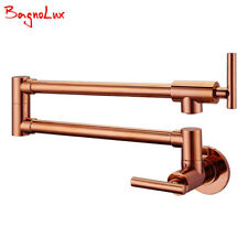 Wall Mount Pot Filler Faucet Spout Cold Water Only With Dual Swing Rose Gold Tap