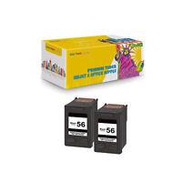 Compatible 2PK C6656 Black Ink Cartridge for HP 56 Deskjet 3550 5550 5652 9650