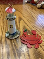 Dewey Beach Crab & Lighthouse Ornaments