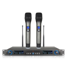 Wireless Microphone System UHF 200 Channel 2 Cordless Handheld Mic Kraoke Speech