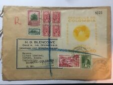 COLOMBIA 1948 Air Mail Registered Bogota to London with UPU minisheet