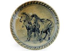 A vintage hand painted studio pottery bowl. Horse / zebras Blue. Fruit bowl