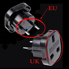 Travel UK to EU Euro Plug AC Power Charger Adapter Converter Socket Black