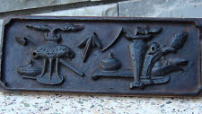 """ANTIQUE 19C CHINESE WOOD HAND CARVED PLAQUE  """"INCENSE BURNERS AND VASES"""",12""""L"""
