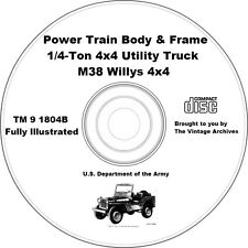M38 Willys 4x4 Power Train, Frame & Body Technical Manual on CD