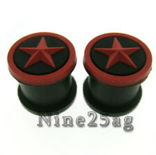 Pair Black/Red Star 15/16 Inch 24Mm Silicone Plugs Plug