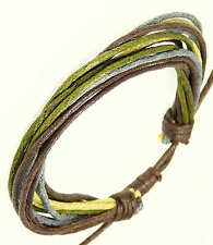 Mens Surf Surfer Style Multi-Coloured Cord Bracelet Wristband Brown Green Blue