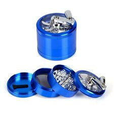 NEW 4 Piece Aluminum Folding Handle Hand Crank Herb Spice Tobacco Grinder Blue