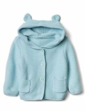 GAP Baby Boy / Girl 6-12 Months Turquoise Bear Cardigan Hoodie Sweater w/Ears