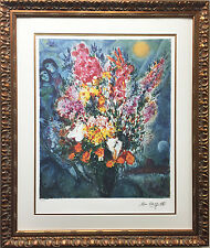 """Blue Bouquet"" Marc Chagall Newly CUSTOM FRAMED Limited Edition Lithograph"