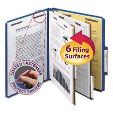 Smead Pressboard Classification Folders Letter Six-Section Dark Blue 10/Box