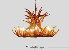9 Head Deer Antler Horn Retro Resin Candle Chandelier Lamp